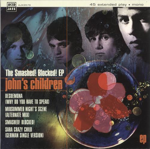 "John's Children The Smashed! Blocked EP 7"" vinyl single (7 inch record) UK JHC07TH730483"