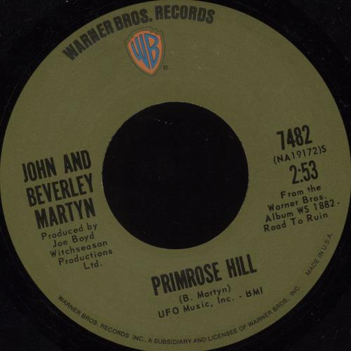 "John & Beverley Martyn Primrose Hill 7"" vinyl single (7 inch record) US J3L07PR679672"