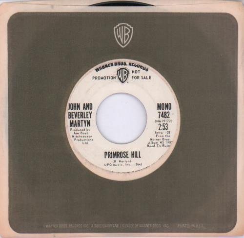 "John & Beverley Martyn Primrose Hill 7"" vinyl single (7 inch record) US J3L07PR679685"