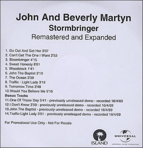 John & Beverley Martyn Stormbringer & The Road To Ruin CD-R acetate UK J3LCRST377431