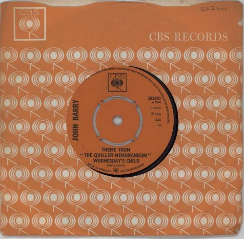 "John Barry (Composer) Theme From ""The Quiller Memorandum"" - Wednesday's Child 7"" vinyl single (7 inch record) UK JBY07TH753241"