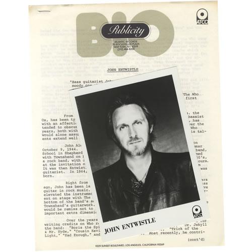 John Entwistle Too Late The Hero media press pack US ETWPPTO463544