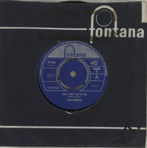 "John Hammond Baby, Won't You Tell Me 7"" vinyl single (7 inch record) UK JHM07BA683032"