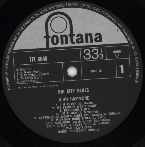 John Hammond Big City Blues - EX vinyl LP album (LP record) UK JHMLPBI720088