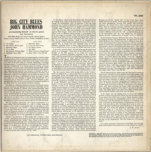 John Hammond Big City Blues vinyl LP album (LP record) UK JHMLPBI692115