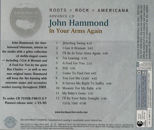 John Hammond In Your Arms Again CD album (CDLP) US JHMCDIN453226