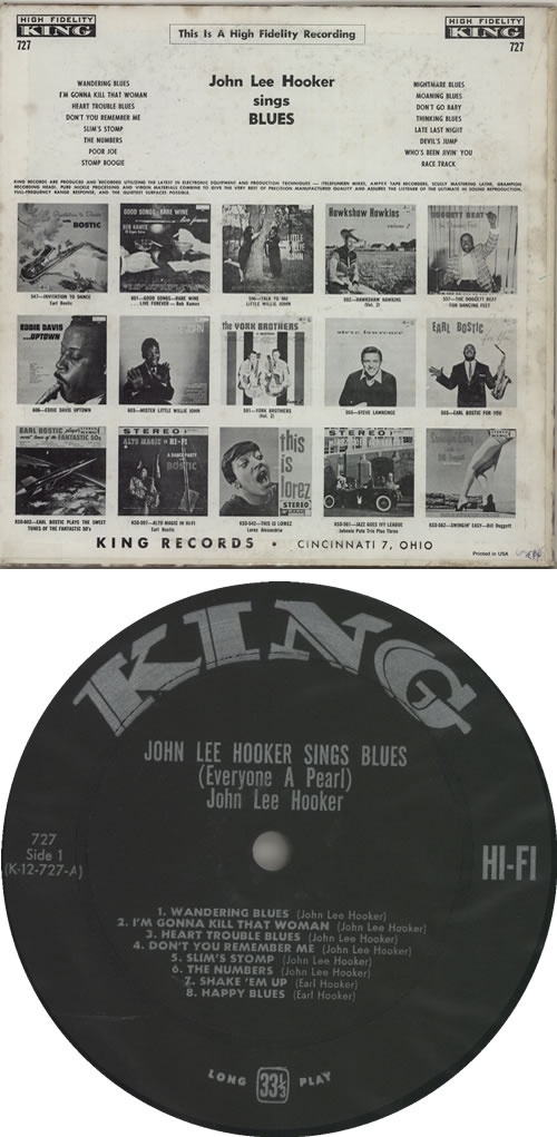 John Lee Hooker Sings Blues - 1st vinyl LP album (LP record) US JLHLPSI632414