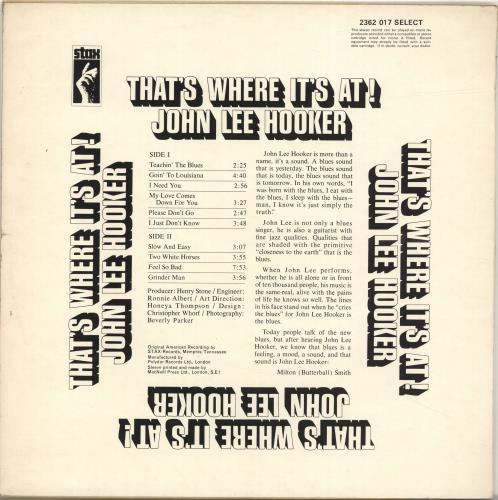 John Lee Hooker That's Where It's At! - 2nd vinyl LP album (LP record) UK JLHLPTH691642