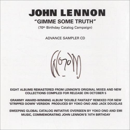 John Lennon Gimme Some Truth CD-R acetate US LENCRGI521364