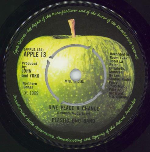 "John Lennon Give Peace A Chance - 2nd - 4pr 7"" vinyl single (7 inch record) UK LEN07GI402218"