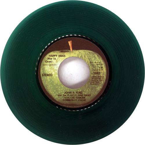 "John Lennon Happy Xmas (War Is Over) - Green Vinyl 7"" vinyl single (7 inch record) US LEN07HA335979"
