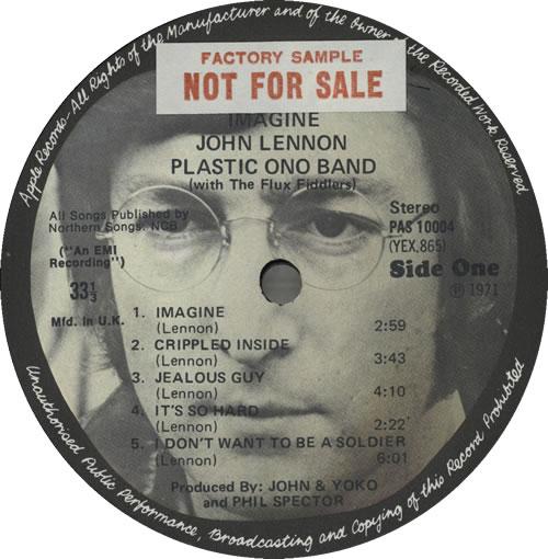 John Lennon Imagine - 1st - Sample - Complete vinyl LP album (LP record) UK LENLPIM583203