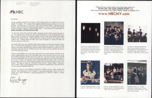 John Lennon In His Life - The John Lennon Story media press pack US LENPPIN183669