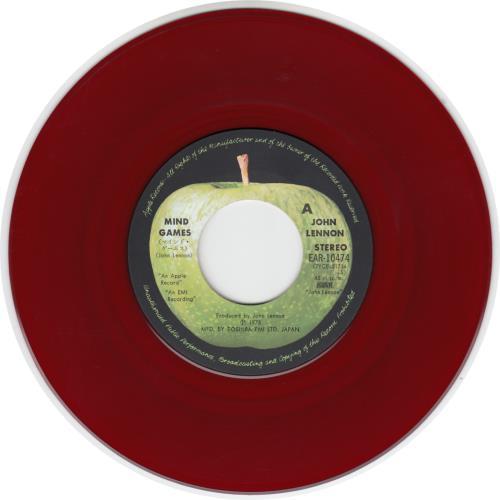 """John Lennon Mind Games - Red Vinyl 7"""" vinyl single (7 inch record) Japanese LEN07MI214385"""