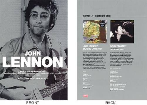 John Lennon Plastic Ono Band et Double Fantasy reedites handbill French LENHBPL192450