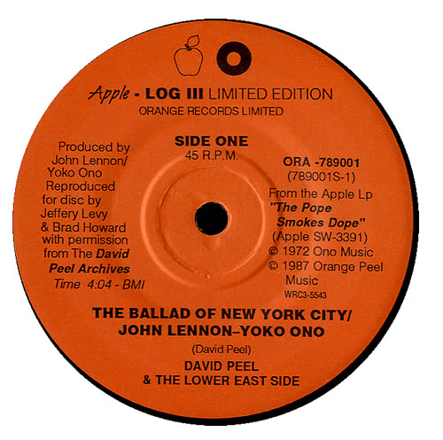 "John Lennon The Ballad Of New York City 7"" vinyl single (7 inch record) US LEN07TH552232"