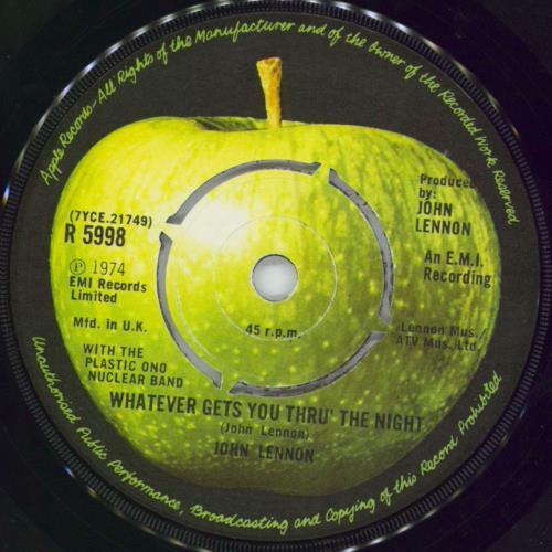 """John Lennon Whatever Gets You Thru' The Night - 4pr 7"""" vinyl single (7 inch record) UK LEN07WH241301"""