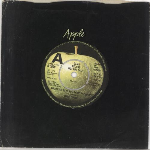 "John Lennon Whatever Gets You Thru' The Night - A Label 7"" vinyl single (7 inch record) UK LEN07WH335976"