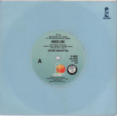 """John Martyn Angeline 7"""" vinyl single (7 inch record) Australian JMY07AN679657"""