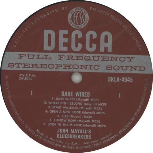 John Mayall Bare Wires vinyl LP album (LP record) Australian JOMLPBA654442