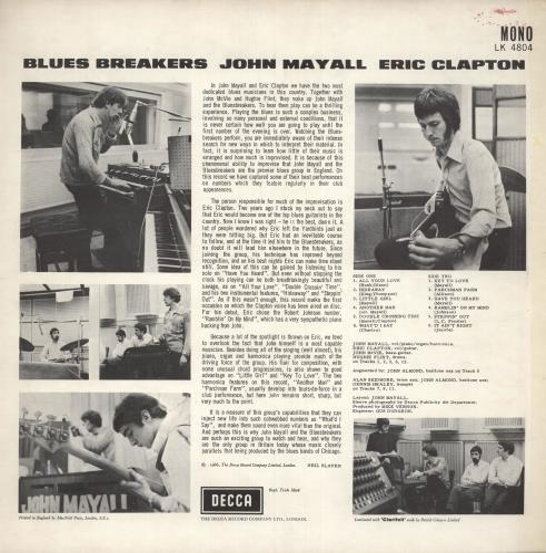 John Mayall Blues Breakers - 1st (B) - EX vinyl LP album (LP record) UK JOMLPBL739331