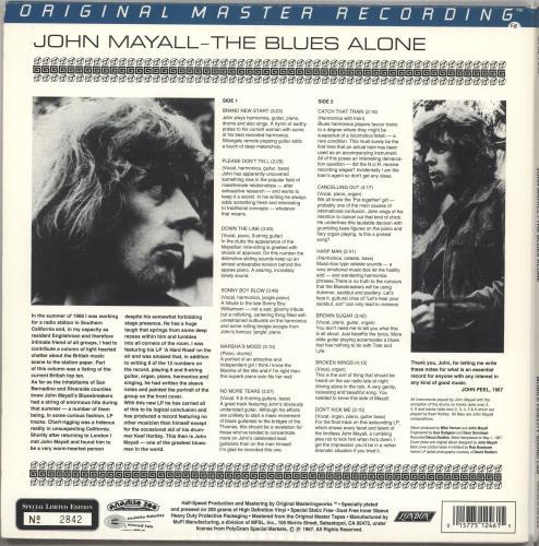 John Mayall The Blues Alone - 200gm vinyl LP album (LP record) US JOMLPTH228256