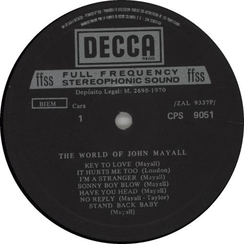 John Mayall The World Of John Mayall vinyl LP album (LP record) Spanish JOMLPTH664608