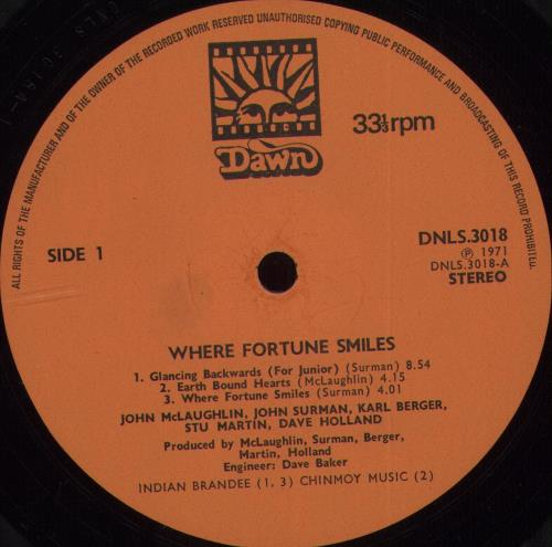 John McLaughlin Where Fortune Smiles - Orange Label vinyl LP album (LP record) UK JMLLPWH702877