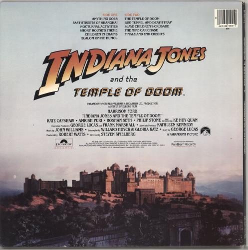 John Williams (Composer) Indiana Jones And The Temple Of Doom vinyl LP album (LP record) US WIALPIN728453