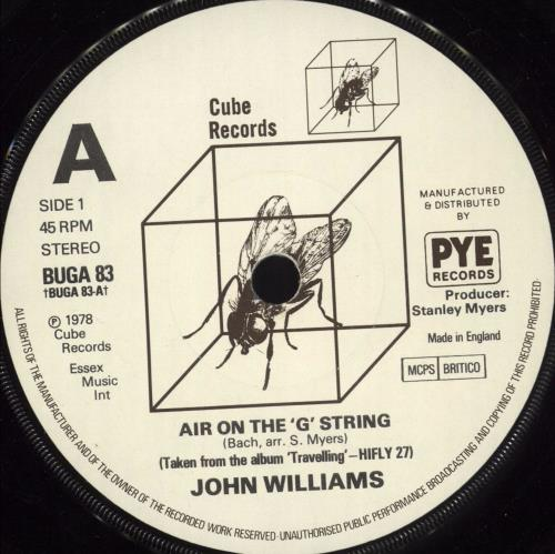 "John Williams (Guitarist) Air On The 'G' String 7"" vinyl single (7 inch record) UK WLA07AI719107"