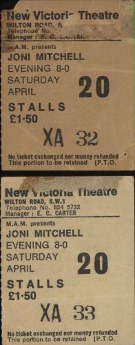 Joni Mitchell Pair of Ticket Stubs concert ticket UK JNITIPA731994