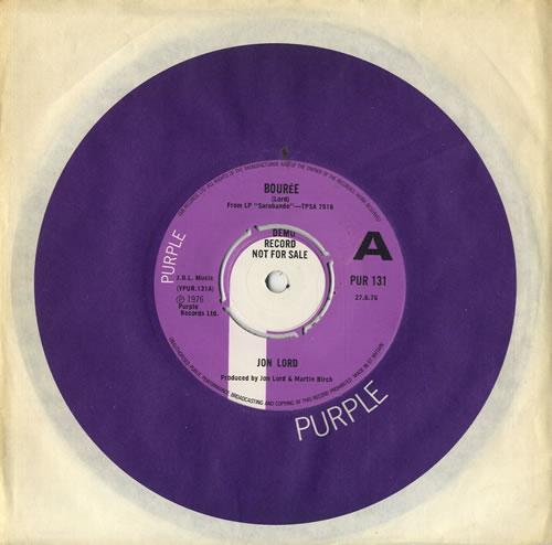 "Jon Lord Bourée 7"" vinyl single (7 inch record) UK JLD07BO81197"