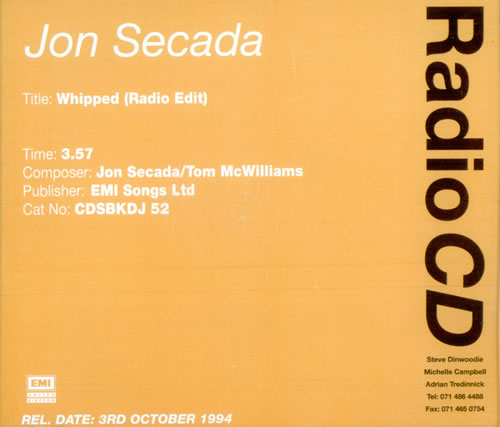 "Jon Secada Whipped CD single (CD5 / 5"") UK SECC5WH522996"