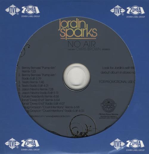 "Jordin Sparks No Air - The Remixes CD single (CD5 / 5"") US JRIC5NO434073"
