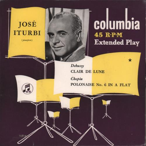 """José Iturbi Claire De Lune 7"""" vinyl single (7 inch record) UK K5V07CL668596"""