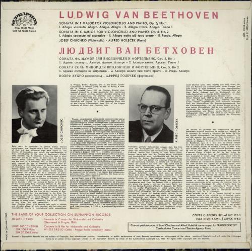 Josef Chuchro Beethoven: Cello Sonatas Op.5 vinyl LP album (LP record) Czech 3P7LPBE764408