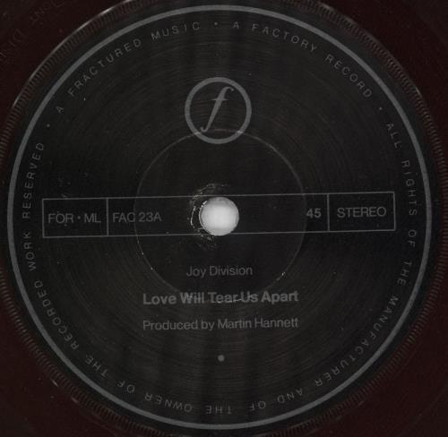 "Joy Division Love Will Tear Us Apart 7"" vinyl single (7 inch record) UK JOY07LO731249"