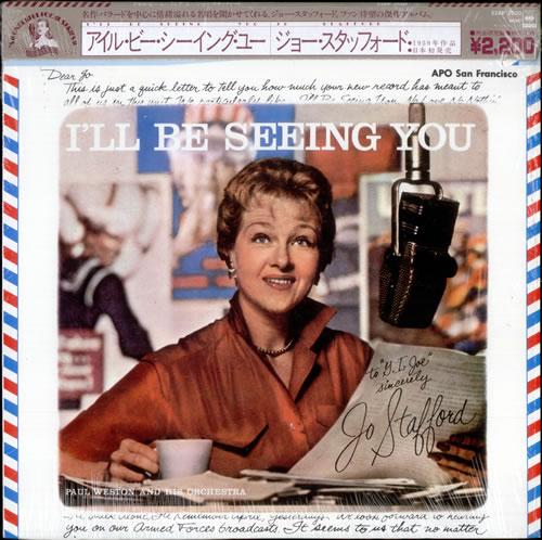 Jo Stafford I'll Be Seeing You vinyl LP album (LP record) Japanese JS0LPIL528606