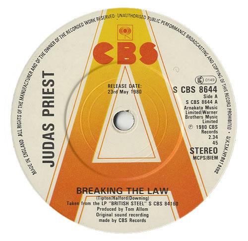 "Judas Priest Breaking The Law 7"" vinyl single (7 inch record) UK JUD07BR459976"