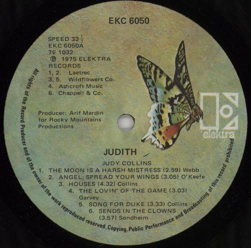 Judy Collins Judith vinyl LP album (LP record) US JUCLPJU754562