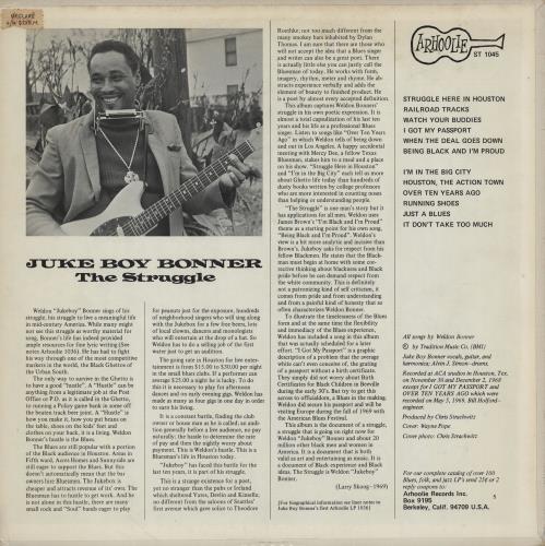 Juke Boy Bonner The Struggle vinyl LP album (LP record) US J77LPTH754898