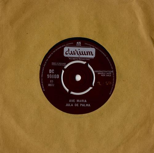 "Jula De Palma Ave Maria 7"" vinyl single (7 inch record) UK 4JL07AV484651"