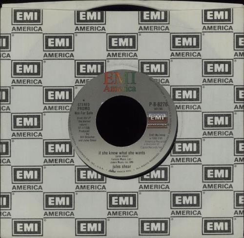 """Jules Shear If She Knew What She Wants 7"""" vinyl single (7 inch record) US K4L07IF676795"""