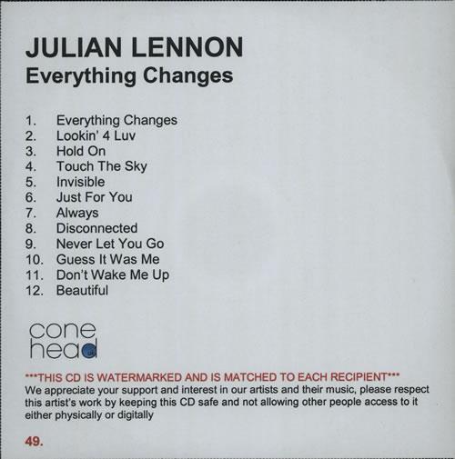 Julian Lennon Everything Changes Uk Promo Cd Album Cdlp