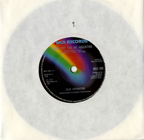 """Julie Covington Don't Cry For Me Argentina - Solid 7"""" vinyl single (7 inch record) UK JAO07DO573740"""