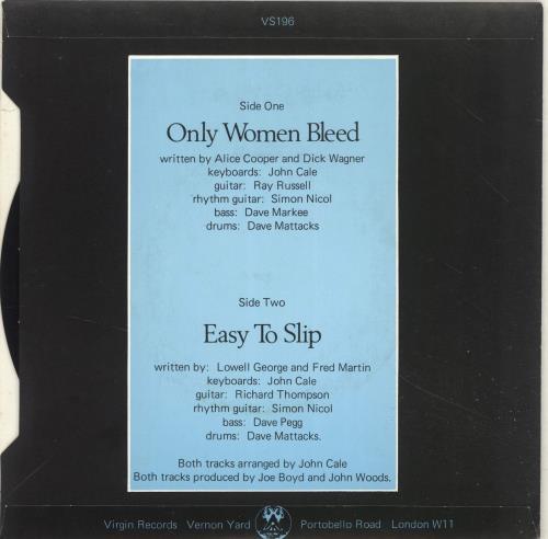 "Julie Covington Only Women Bleed + p/s 7"" vinyl single (7 inch record) UK JAO07ON610224"