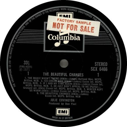 Julie Covington The Beautiful Changes - Factory Sample vinyl LP album (LP record) UK JAOLPTH699213