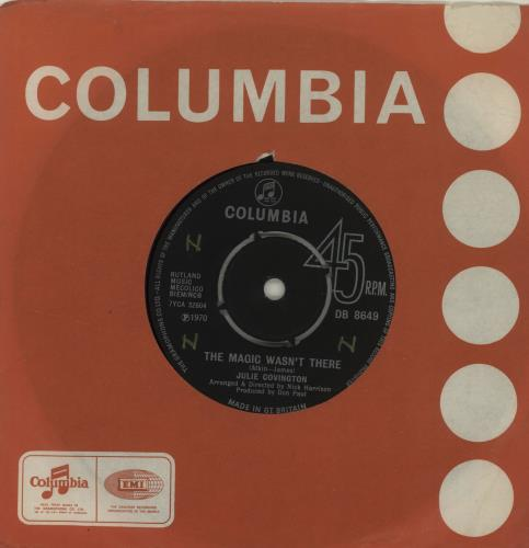 """Julie Covington The Magic Wasn't There 7"""" vinyl single (7 inch record) UK JAO07TH685379"""