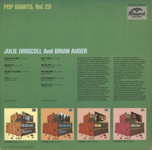 Julie Driscoll & Brian Auger Pop Giants Vol. 20 vinyl LP album (LP record) German B&JLPPO729611
