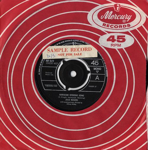 "Julie Rogers Hawaiian Wedding Song - Sample 7"" vinyl single (7 inch record) UK JRE07HA481674"